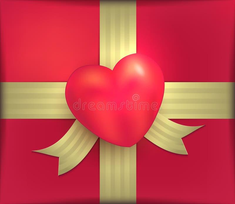 Fita vermelha Valentine Day 3D do ouro do coração do pacote do presente ilustração stock