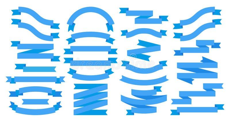 fitas Bandeiras lisas azuis isoladas em branco, elementos do projeto da fita para o texto Molde do gr?fico de vetor ilustração royalty free
