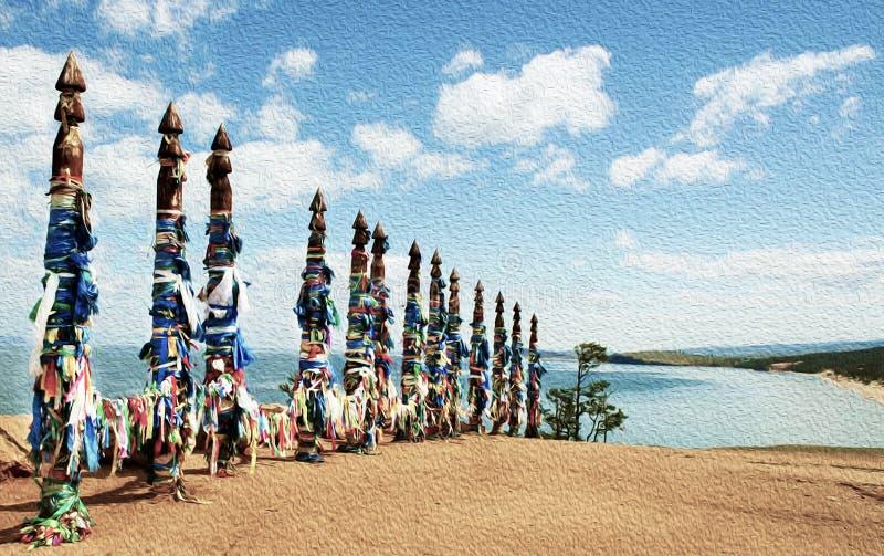 Fitas coloridas vívidas Hadak amarrado em cargos do desejo, colunas rituais de madeira, Baikal, Rússia fotografia de stock royalty free
