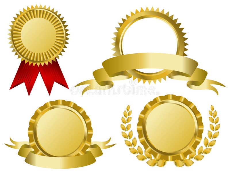 Fitas da concessão do ouro ilustração royalty free