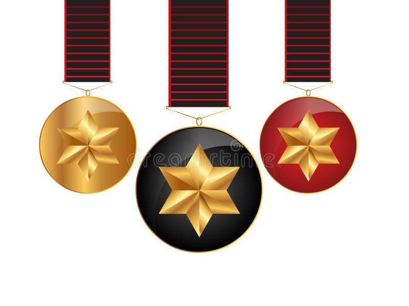 Fitas das medalhas ilustração stock