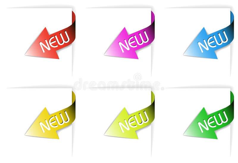Fitas de canto novas coloridas ajustadas ilustração stock