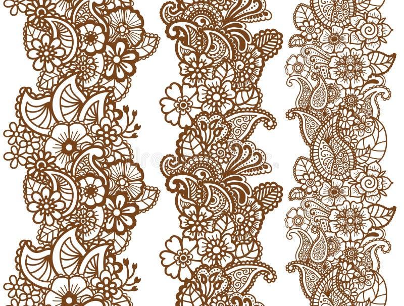 Fitas de Mehndi Projeto de Paisley ilustração stock