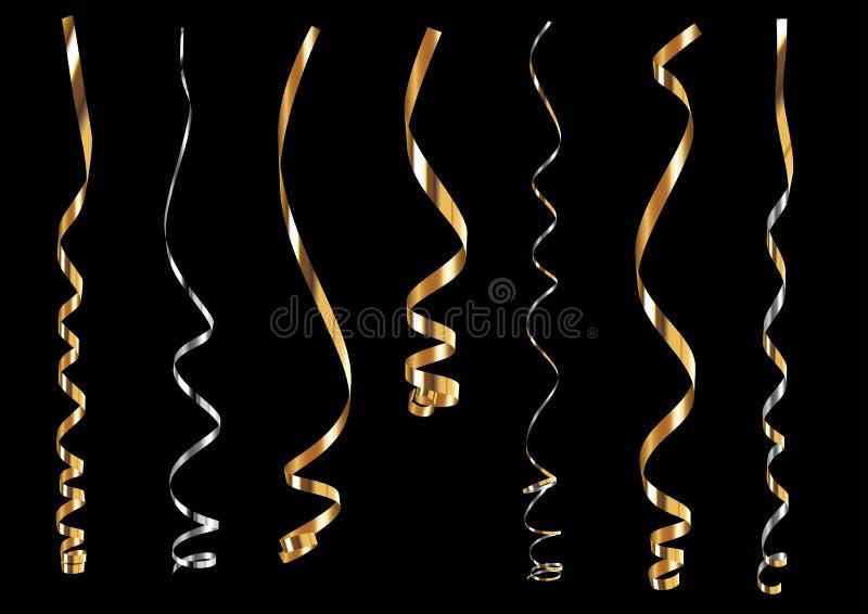 Fitas de ondulação do ouro e da prata ilustração do vetor