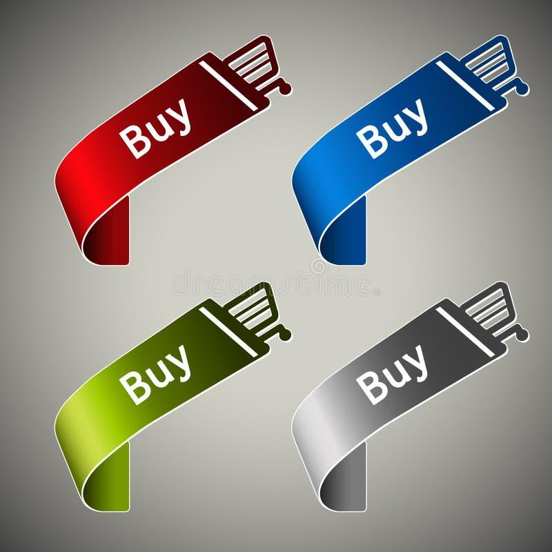 Fitas de papel da compra - botão do carrinho de compras ilustração stock