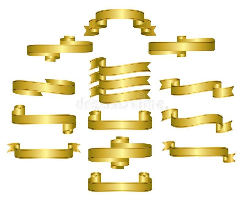 Fitas do ouro, rolos, bandeiras ilustração royalty free