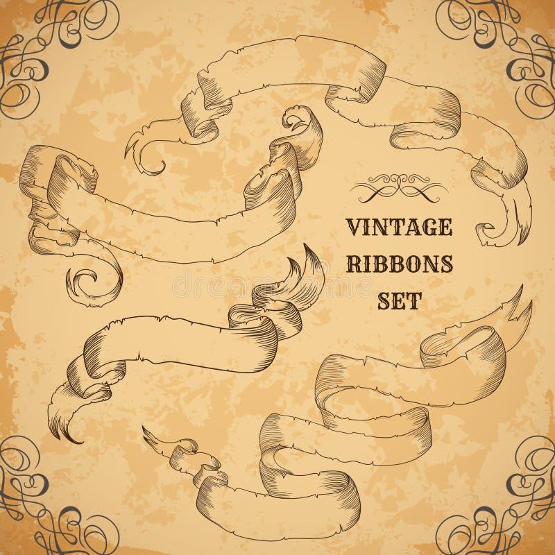 Fitas do vintage ajustadas Ilustração do vetor Quadros ornamentado decorativos gravados Estilo vitoriano Lugar para a mensagem de ilustração royalty free