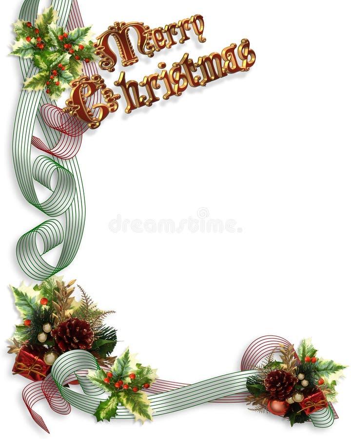 Fitas e azevinho da beira do Natal ilustração royalty free
