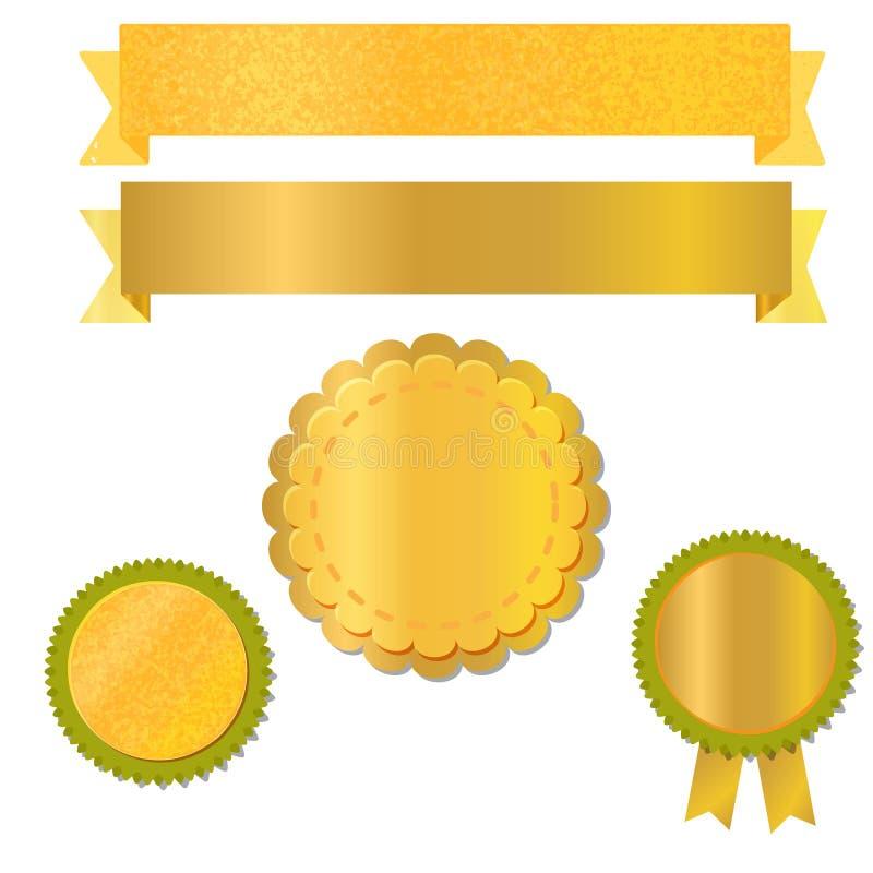 Fitas e etiquetas para o projeto com folha de ouro textured, vetor ilustração royalty free