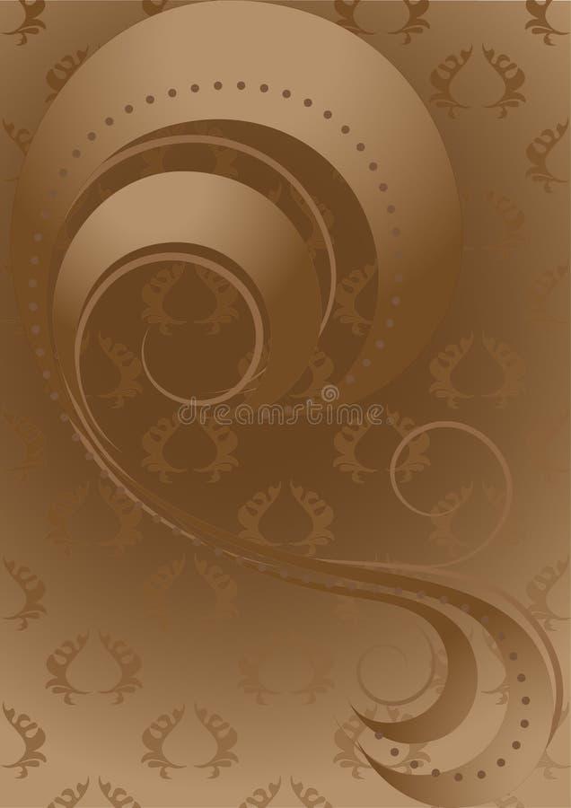 Fitas e grânulos abstratos na parte traseira modelada do marrom ilustração royalty free