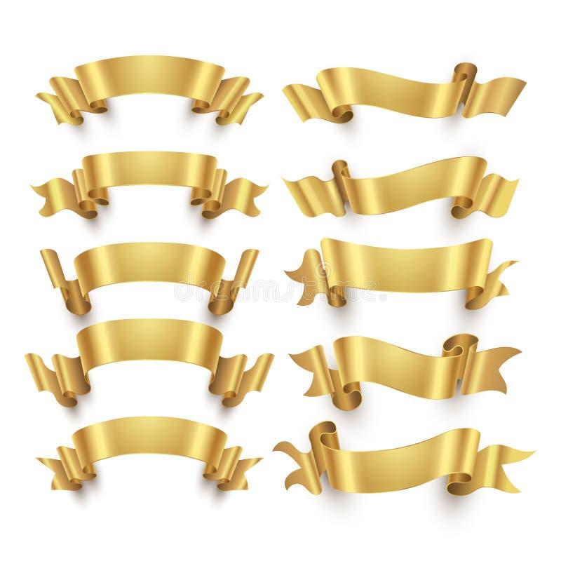Fitas e grupo dourados do vetor das bandeiras da concessão do ouro ilustração do vetor