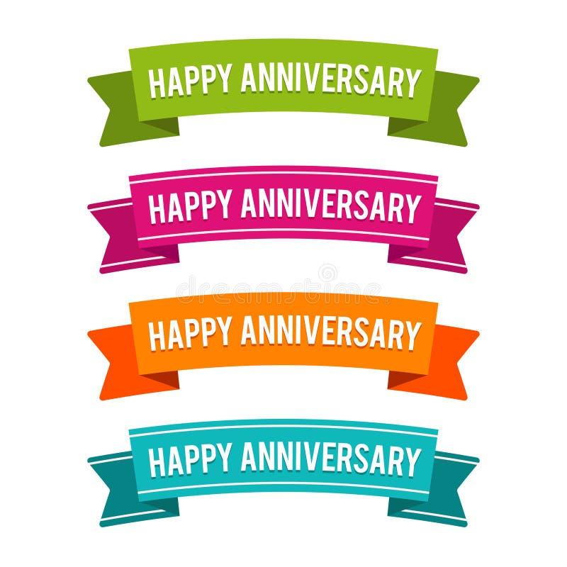 Fitas felizes coloridas do aniversário Vetor Eps10 ilustração royalty free