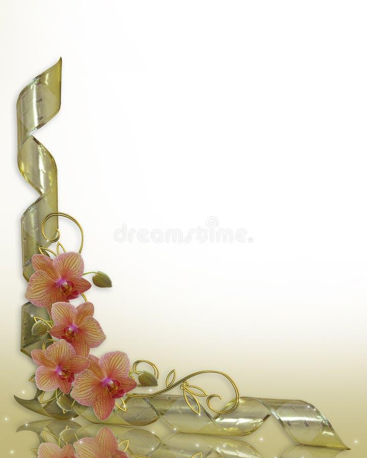 Fitas florais do ouro da beira das orquídeas ilustração royalty free