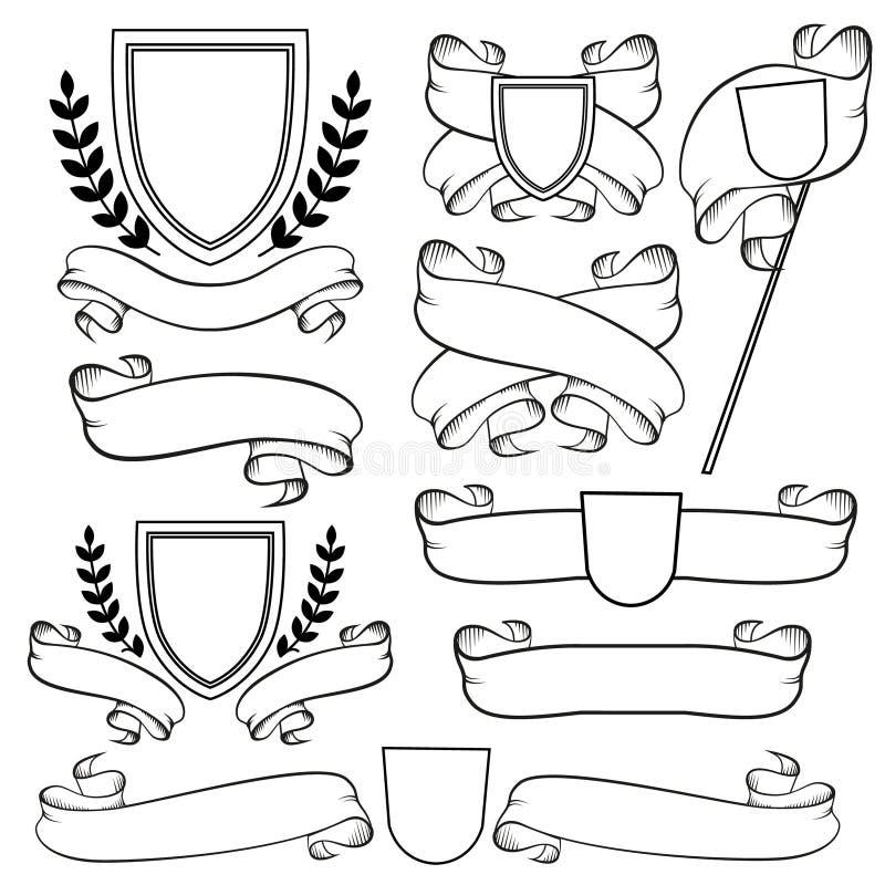 Fitas heráldicas e crista isoladas Brasão do monochrome do esboço ilustração do vetor