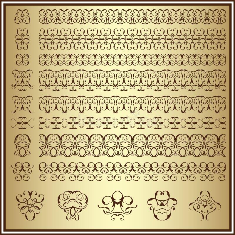 Fitas laçados do vintage do vetor, beiras e elementos do projeto ilustração royalty free