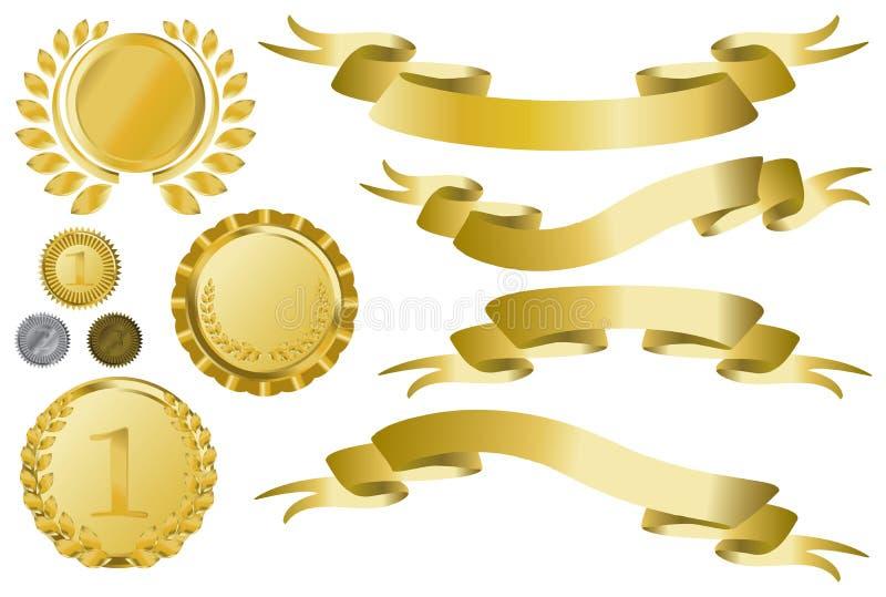 Fitas, medalhões e medalha dourados ilustração stock