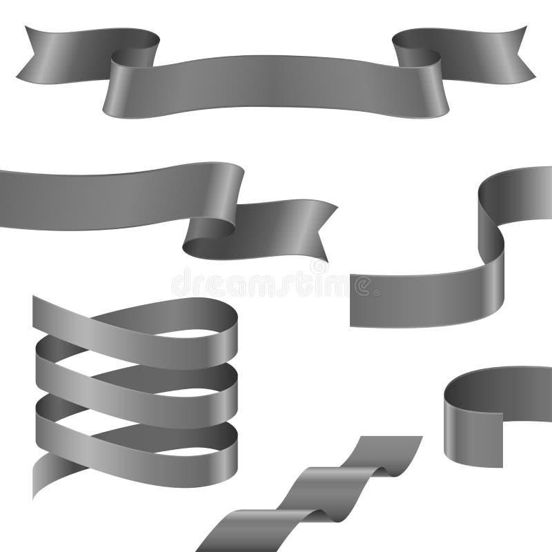Fitas onduladas Coleção de bandeiras de prata cinzentas da fita ilustração stock