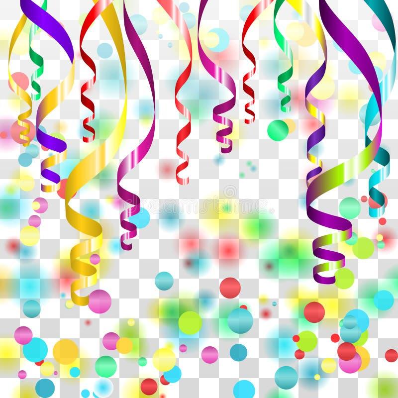 Fitas serpentinas coloridas com poeira dourada no fundo quadriculado transparente Ilustração do vetor ilustração do vetor