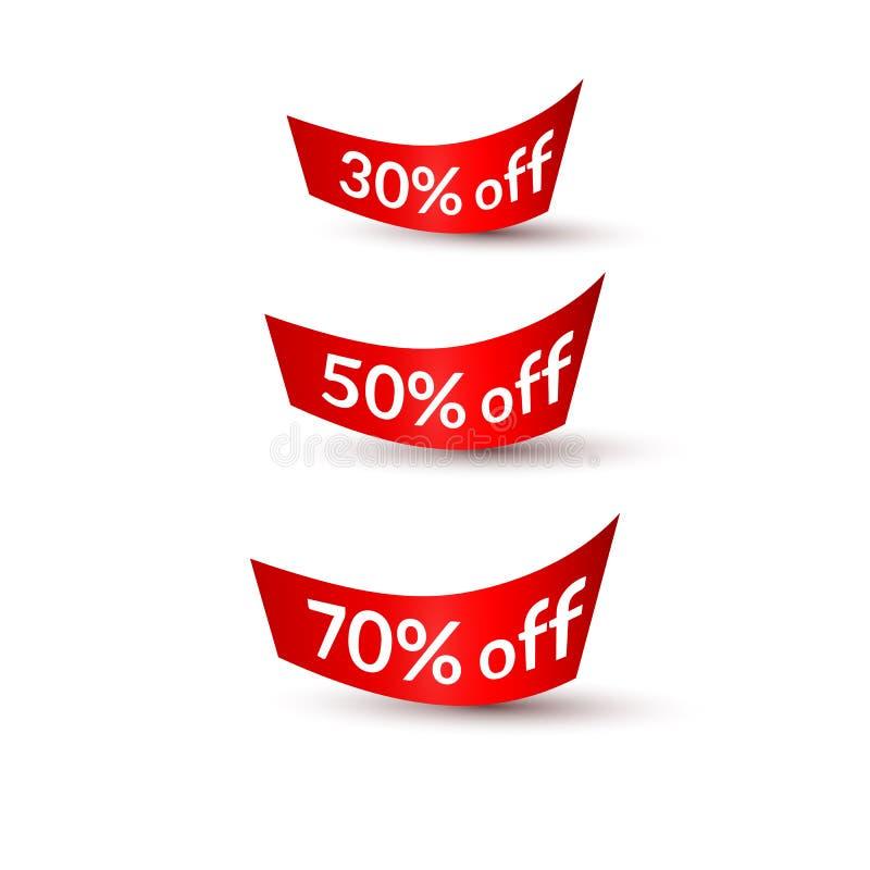 Fitas vermelhas com texto 30% 50% 70% fora fundo branco no elemento isolado do projeto de anunciar a promoção dos cartazes das ba ilustração do vetor