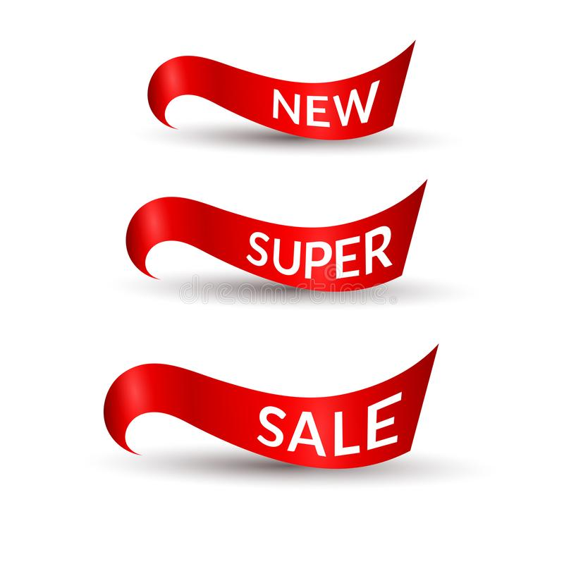 Fitas vermelhas com venda super nova do texto fundo branco no elemento isolado do projeto de anunciar o grupo da promoção dos car ilustração royalty free