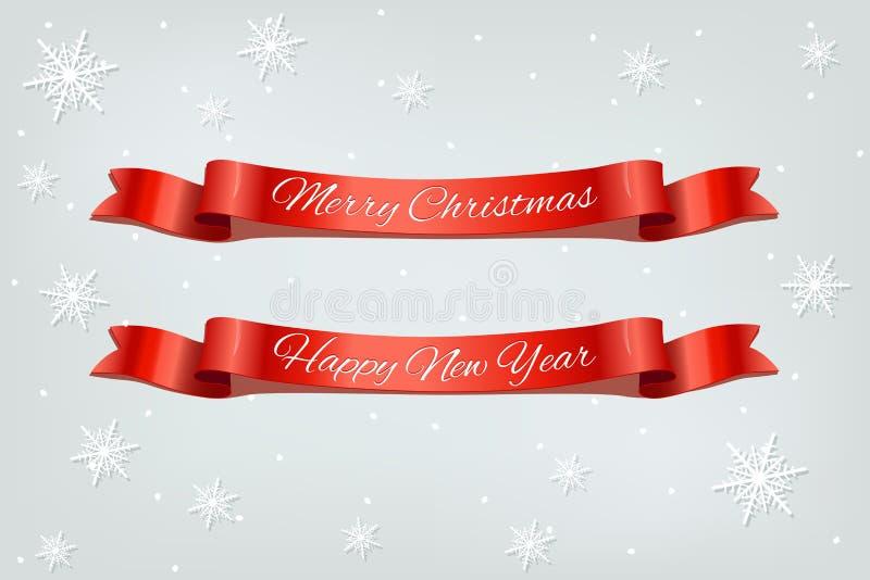 Fitas vermelhas do Feliz Natal e do ano novo feliz no fundo nevando ilustração royalty free