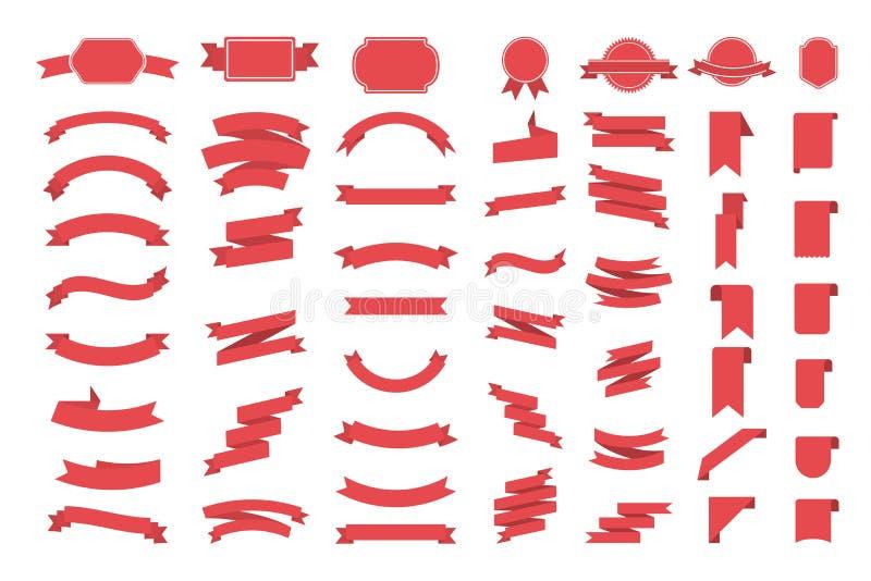 Fitas vermelhas do texto ilustração do vetor