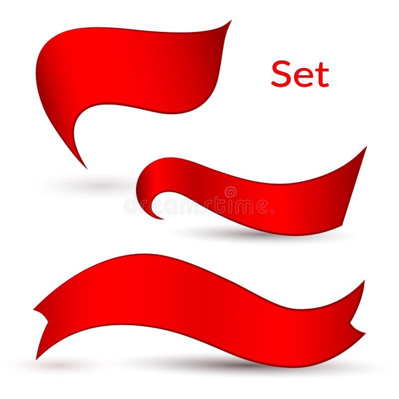 Fitas vermelhas fundo claro em um elemento isolado do projeto de anunciar cartazes das bandeiras um grupo de fitas para lojas da  ilustração do vetor