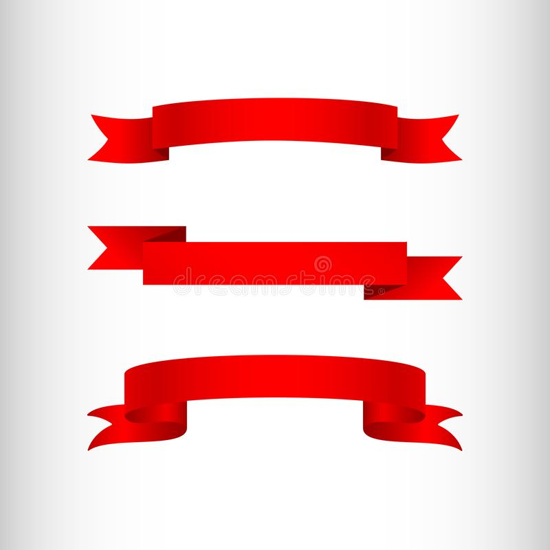 Fitas vermelhas fundo claro em um elemento isolado do projeto de anunciar cartazes das bandeiras um grupo de fitas para lojas da  ilustração royalty free