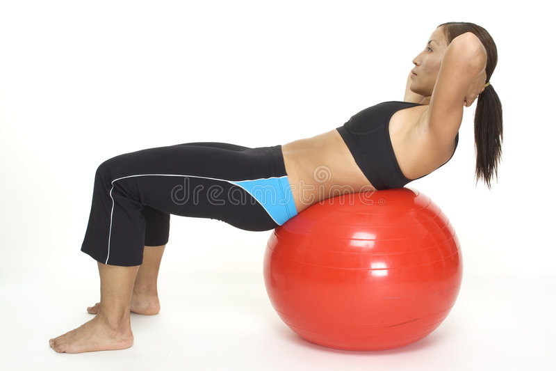 Download Fitball Crunch 2 stock image. Image of crunch, routine - 121941