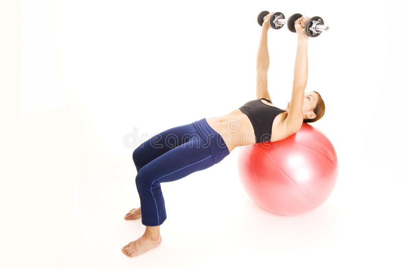 Fitball Dumbell Press 2 royalty free stock images