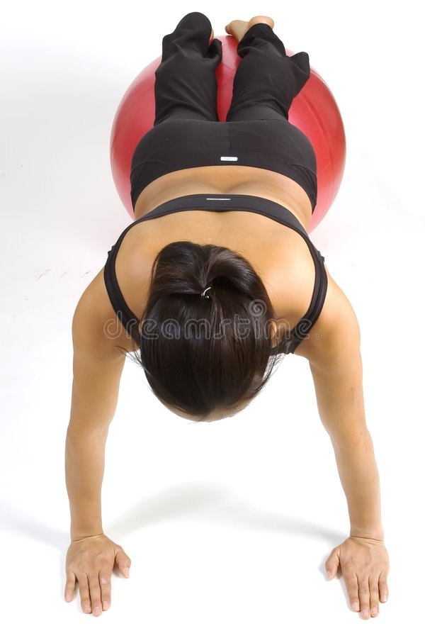 Fitball Pushup stockfoto