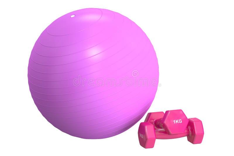 Fitball rosado y pesas de gimnasia, representación 3D stock de ilustración