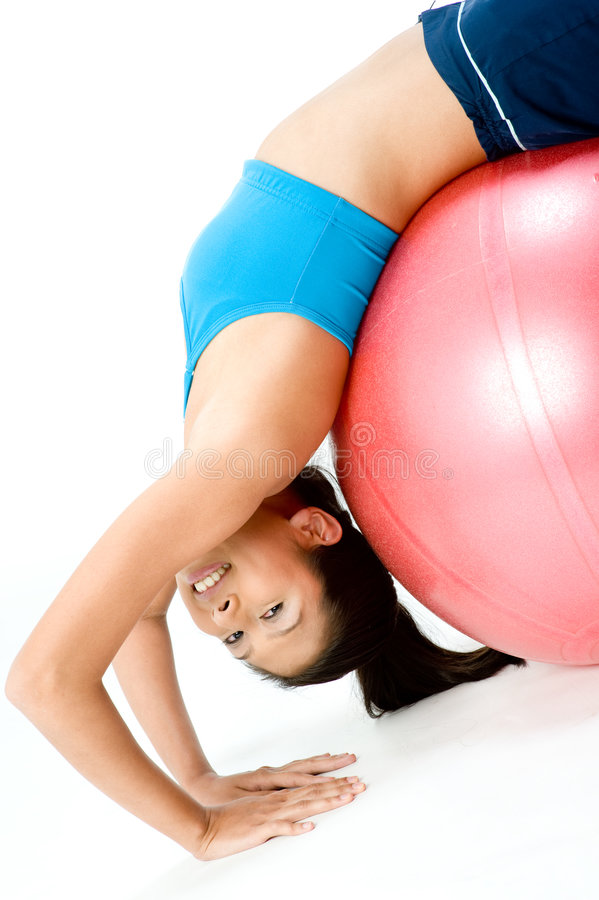 Download Fitball Stretch stock image. Image of studio, pretty, beauty - 4042507