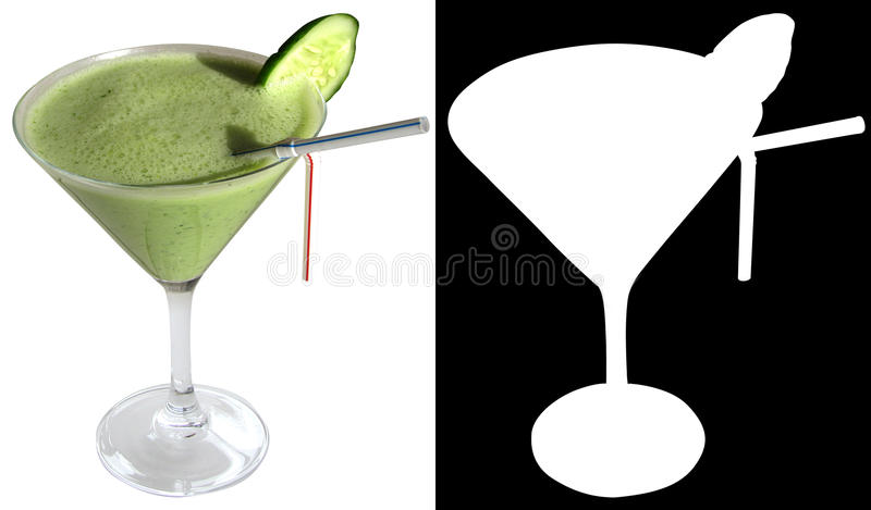 Fitnes Cocktail with cucumber, dill, yoghurt, spinach, decorated with a slice of cucumber stock image