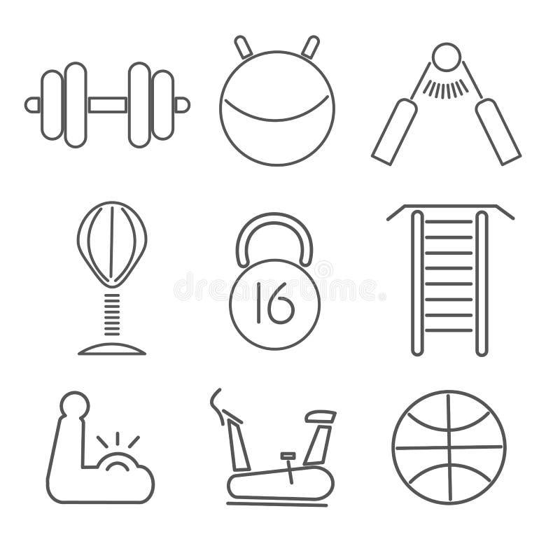 Fitnes uppsättning av symboler stock illustrationer