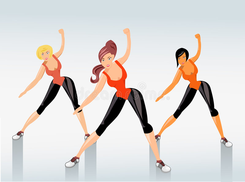 Fitness. Young attractive girls exercising, vector illustration