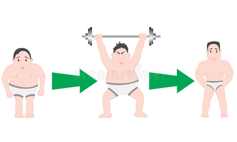 Download Before and after fitness stock vector. Image of heavy - 23477588