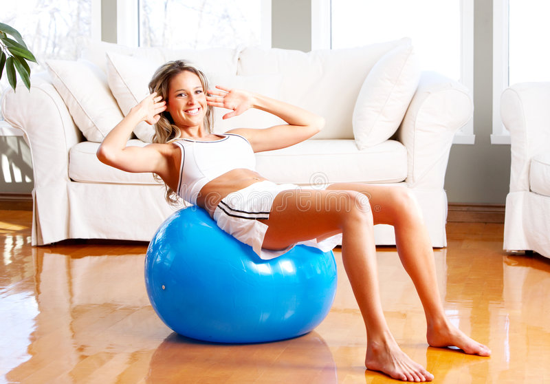 Download Fitness stock photo. Image of happy, person, ball, bodybuilding - 7650066