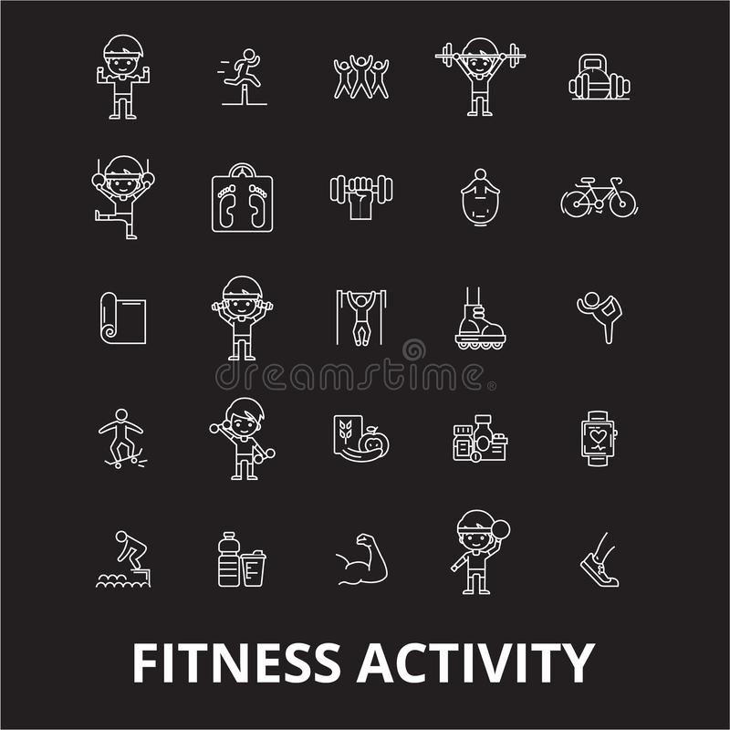 Fitness activity editable line icons vector set on black background. Fitness activity white outline illustrations, signs vector illustration