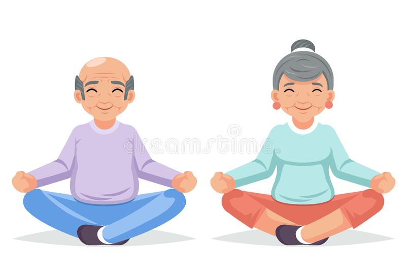Fitness adult people healthy lifestyle old couple grandfather grandmother yoga exercises happy cartoon character design vector illustration