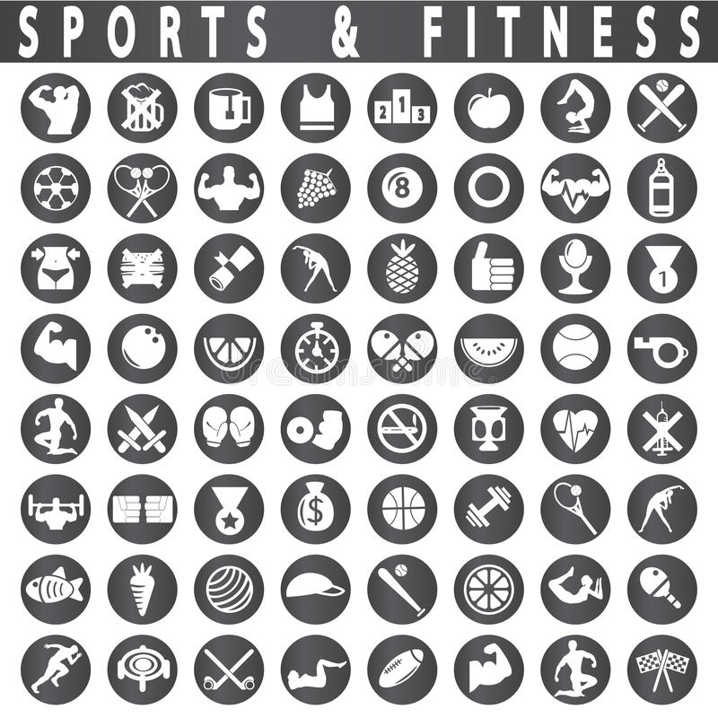 Free Fitness And Sports Icons Stock Images - 47017654