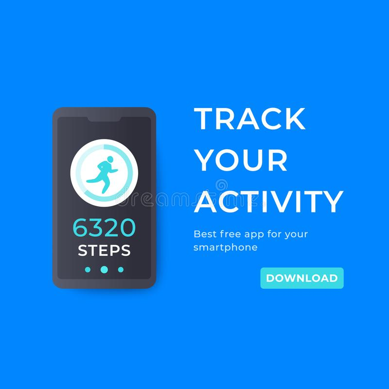 Fitness app, activity tracker for smartphone royalty free illustration