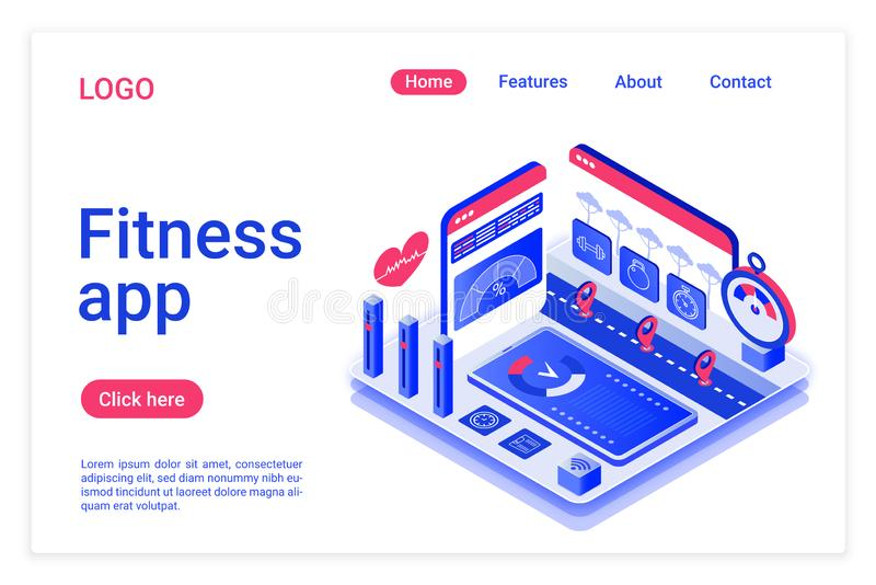 Fitness app isometric landing page template. Healthy lifestyle mobile assistant promotional web banner. Body training royalty free illustration