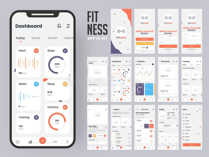 Fitness app material design with flat ui web screens including sign in. Fitness app material design with flat ui web screens including sign in, create profile vector illustration