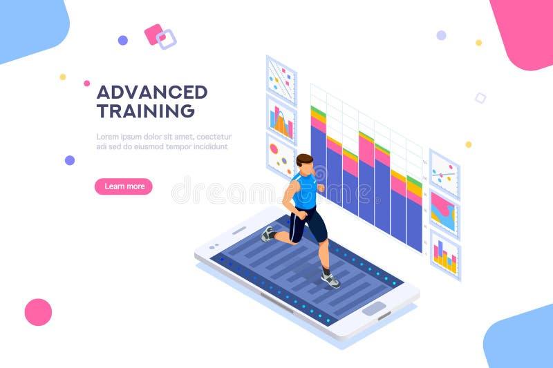 Fitness App for Sports Sportswear Wellness Treadmill. Treadmill exercising, fitness app for sports. Sportswear for man. Workout for wellness and activity of royalty free illustration