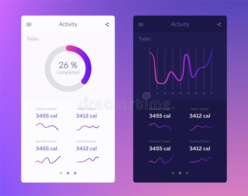 Fitness app. UI design concept with web elements of workout application for mobile and tablet devices. Fitness app. Ui ux design. UI design concept with web stock illustration