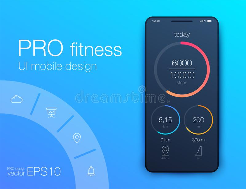 Fitness app. Ui ux design. UI design concept with web elements. Of workout application for mobile royalty free illustration