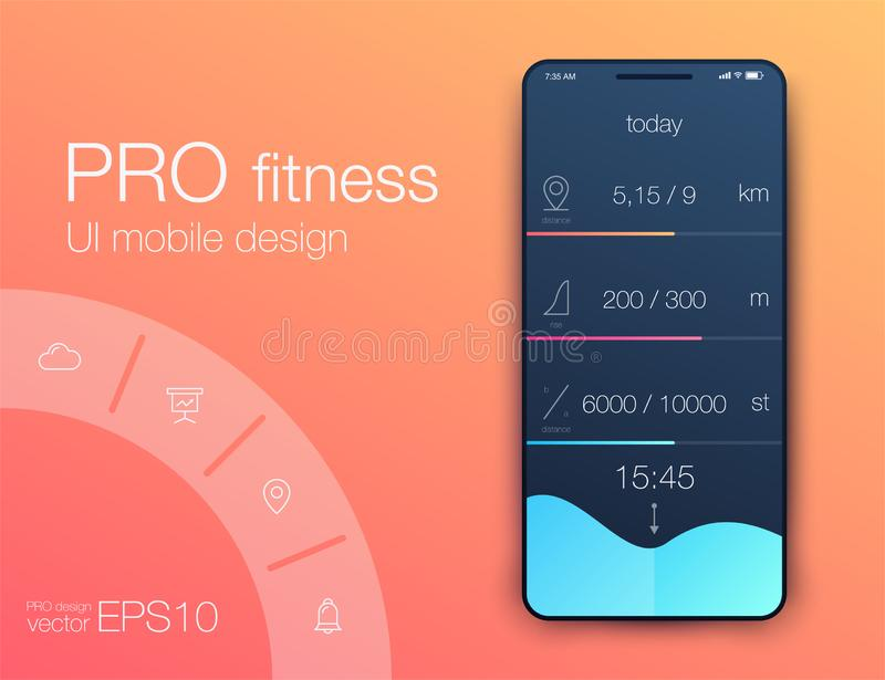 Fitness app. Ui ux design. UI design concept with web elements. Of workout application for mobile vector illustration