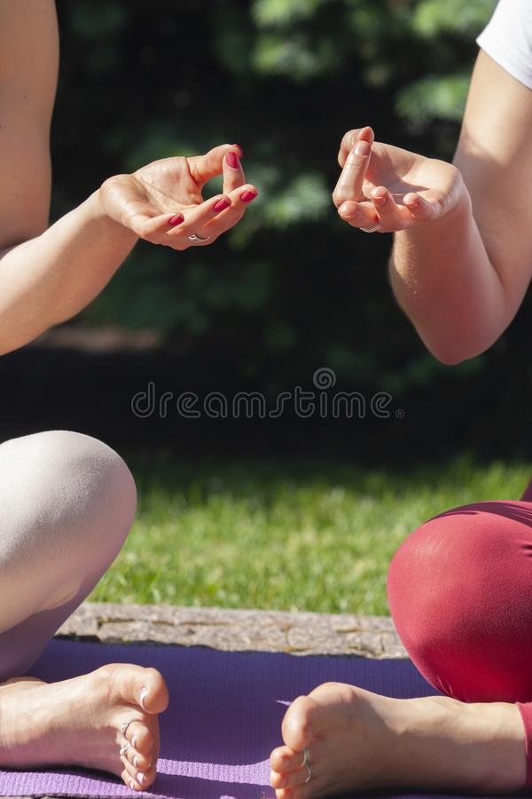 Fitness asian woman doing yoga exercise and relax with sportswear in green park at summer, healthy lifestyle concept royalty free stock photos