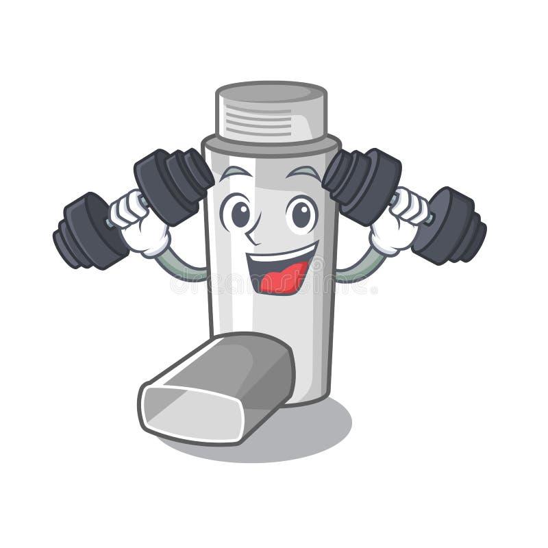 Fitness asthma inhaler in the cartoon shape. Vector illustration stock illustration